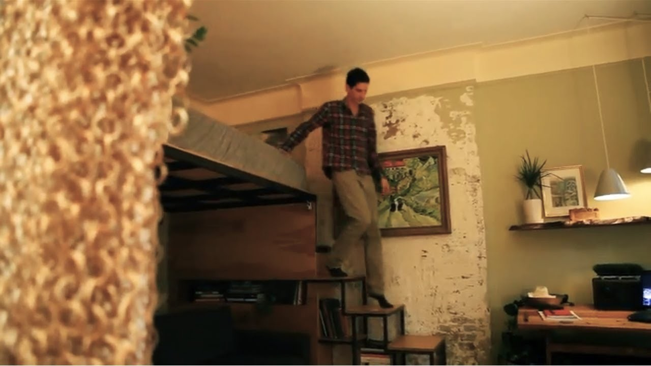 "Product designer turns 271sq ft into a ""tree house"" apt - Tiny Eclectic Amazing Spaces video"