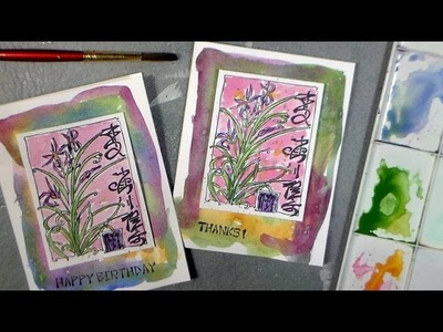 Quick & Easy Splashy Stamped Watercolor Card!
