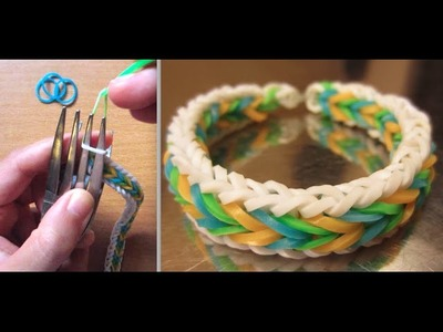 Rainbow Loom Bracelet Fishtail with Border without Loom. using 2 Forks
