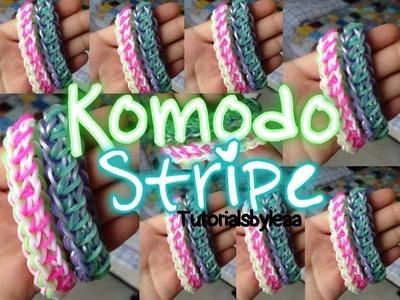 Rainbowloom KOMODO STRIPE bracelet tutorial| TutorialsByLea