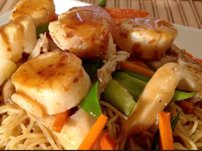 Stir-Fry Noodles with Seared Scallops-How To Make Scallops With Stir Fried Noodles-Seared Scallops