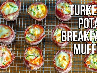 Turkey Wrapped Potato & Egg Breakfast Muffin Recipe. Magdalenas de Huevo y Patata con Pavo