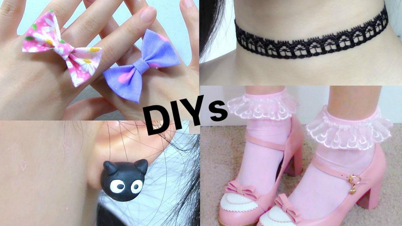 Back to School: 4 DIY Cute Accessories | DIY Cat Earings | Frilly Socks |  Bow Ring | Choker