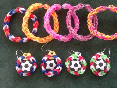 Beading4perfectionists: Rubber bands looming with hook #4. Make soccer ball earrings