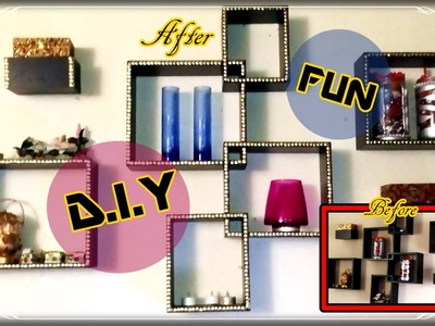 Decorate your wall shelf hanging with thumb pins