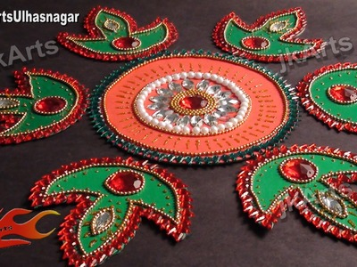 DIY Kundan Rangoli Design on Cardboard. Mountboard | How to make | JK Arts s 398