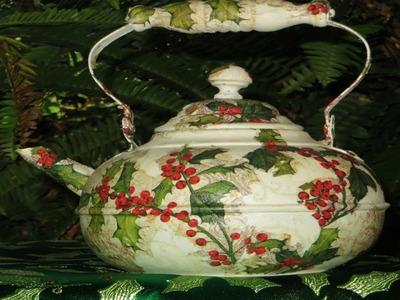 DIY Tea Kettle Upcycle Decoupage Holly Berry
