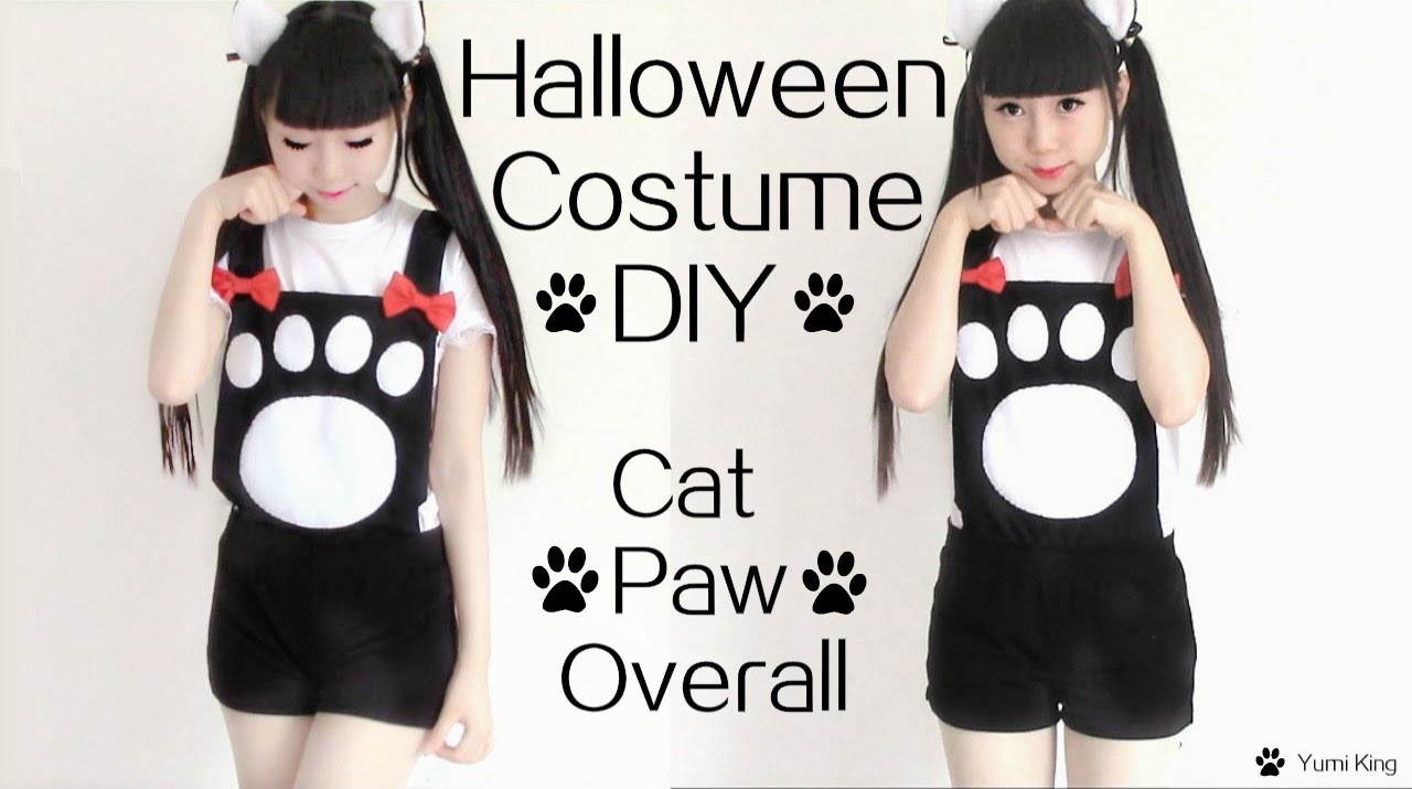 Easy Halloween Costume DIY : Cat Paw Overall Costume Inspired by Vocaloid Len