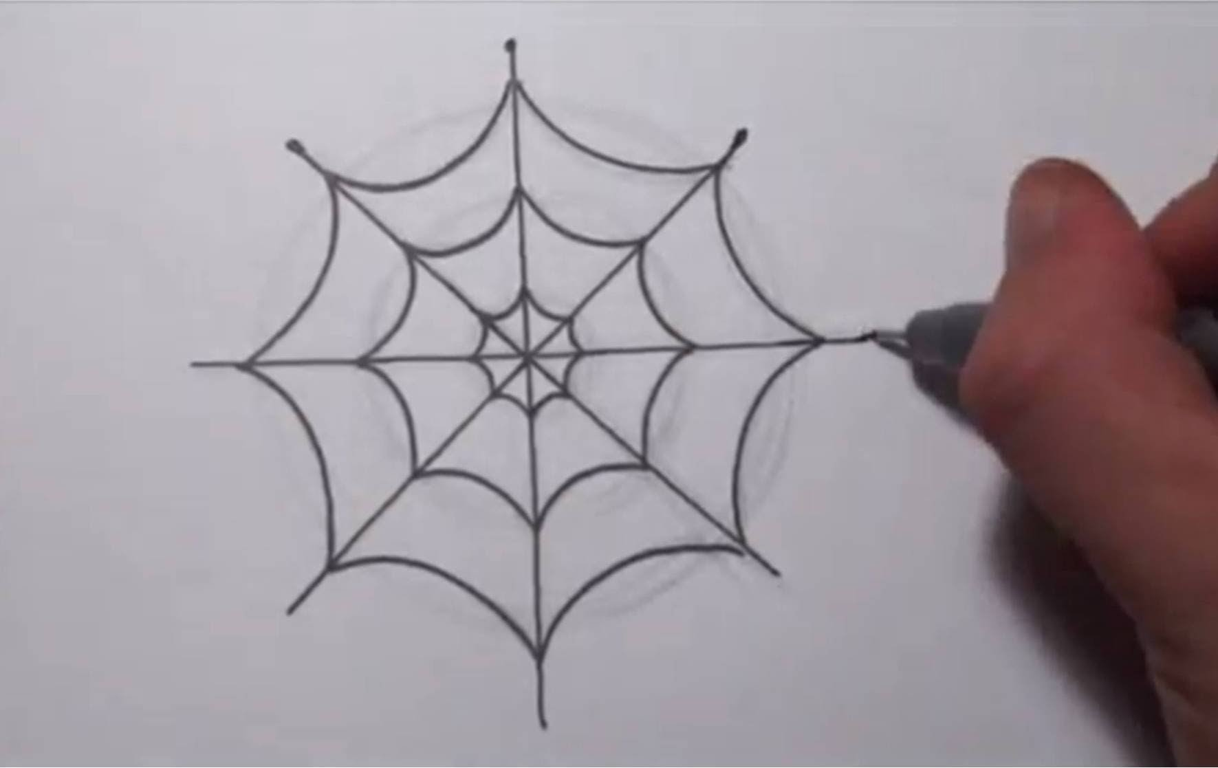 How To Draw a Simple Spider Web