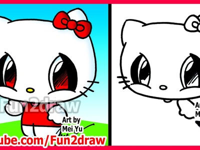 How to Draw Cartoon Characters - Hello Kitty - Fun2draw Easy drawings