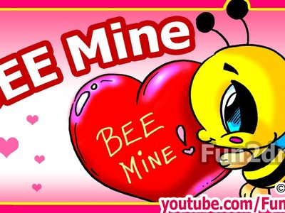 How to Draw Valentines  - Cute Cartoon Bee + Heart  - Fun2draw channel