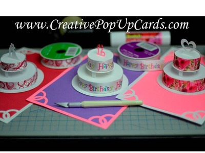 How to make a Birthday Cake or Wedding Cake Pop Up Card Tutorial: Part 2