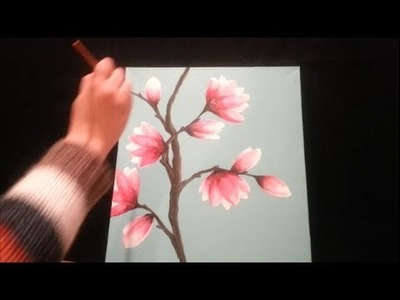 How to paint magnolia blossoms - STEP by STEP