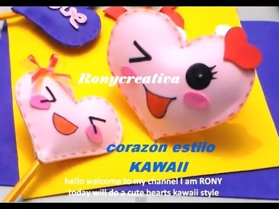 KAWAII CORAZON DE FOMI 3D. KAWAII HEART DIY