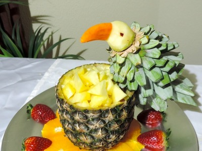 Parrot made with fruit- J.Pereira - Art Carving Fruits and vegetables