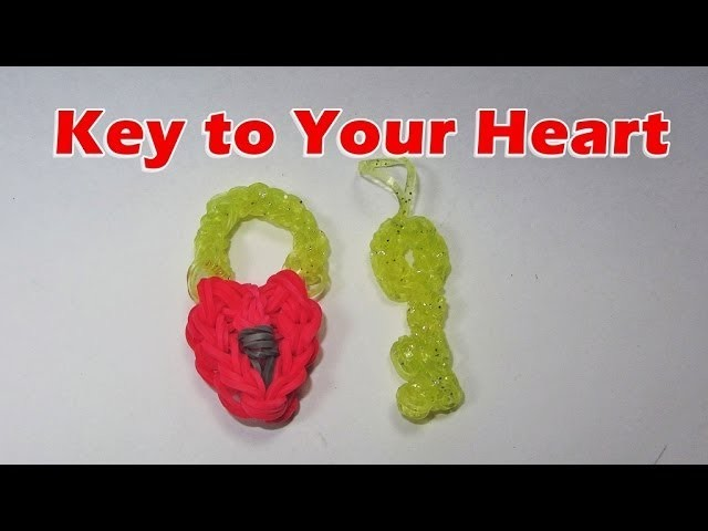 Rainbow Loom: Heart Lock and Key Charm (Valentine's Day, Love, Boyfriend, Girlfriend)