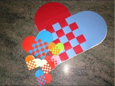 Tutorial de como hacer una corazón trenzado de papel, bicolor o tricolor.How to make a paper heart