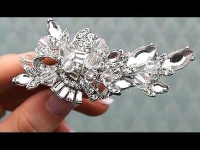 Vintage Inspired Rhinestone Bridal Hair Clip - AA-S2348