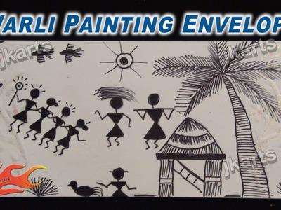 Warli Painting (Tribal Art. Warli Art ) on Envelope  - JK Arts 222