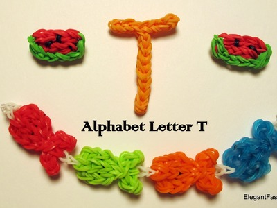 Alphabet Letter T Charm on Rainbow Loom