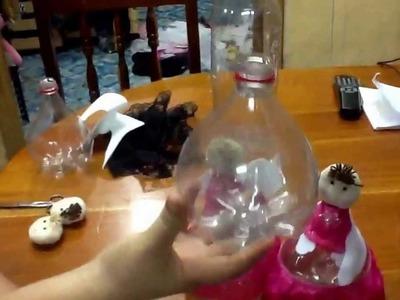 Angelitos pet reciclados centro de mesa o recuerdo