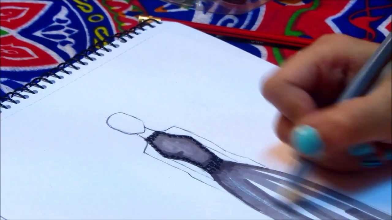 Chiffon Dress Fashion Sketch   @SarahAlAssiri