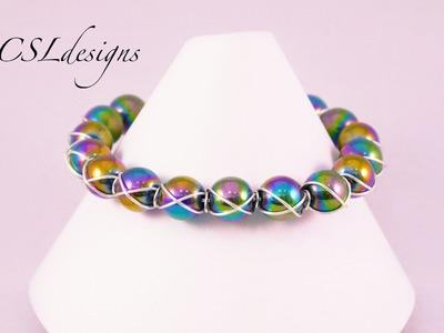Cross wire wrapped bracelet