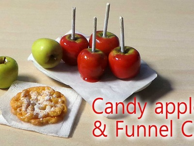 EASY; Miniature Candy Apple & Funnel Cake Tutorial - Halloween. Fall