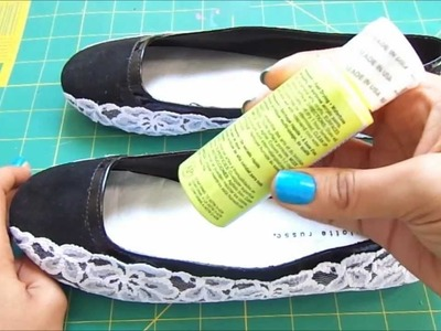 Fashion DIY How to make Neon And Lace Flats with some old shoes