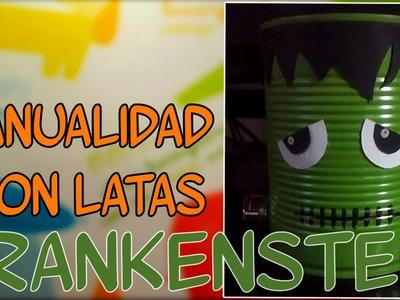 Frankenstein con latas recicladas, para halloween - Candy Bu