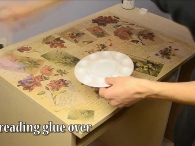 How to decoupage desk in retro style (decopatch)