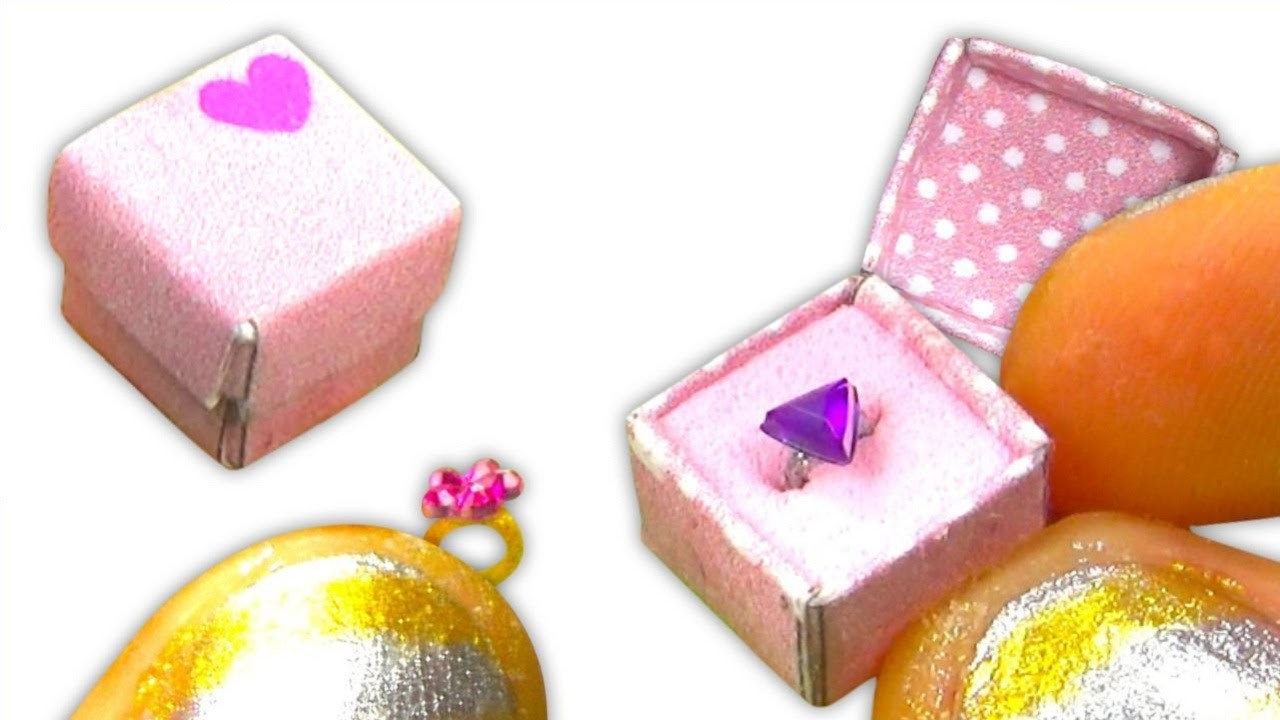 Miniature doll ring and gift box to keep it inside tutorial - Dollhouse DIY