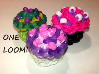 ONE LOOM 3-D Swirly Cupcake Tutorial by feelinspiffy (Rainbow Loom)