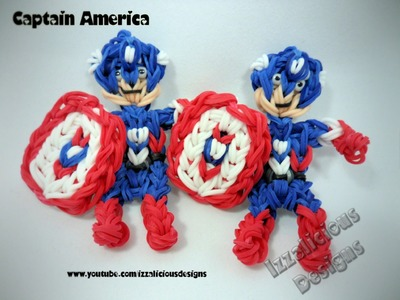 Rainbow Loom Captain America Action Figure.Charm Tutorial