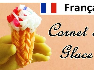 Rainbow Loom (Francais) Cornet de glace. Bracelet Elastique. Loom bands Tuto