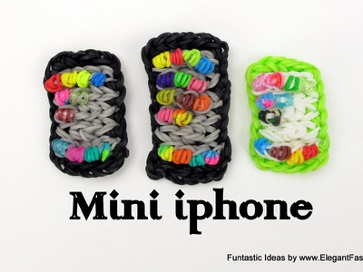 Rainbow Loom Mini iphone.Smart phone charm - How to tutorial(Loomless)