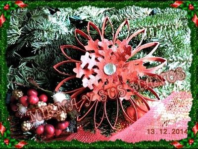 RECICLAJE.  COMO HACER UN ADORNO NAVIDEÑO. Recycling. How to make Christmas ornament