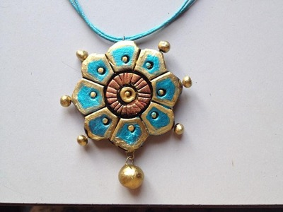 TERRACOTTA JEWELLERY : HOW TO PAINT  A FLOWER PENDANT