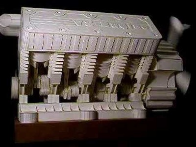The most complex V8 Engine paper model in the world