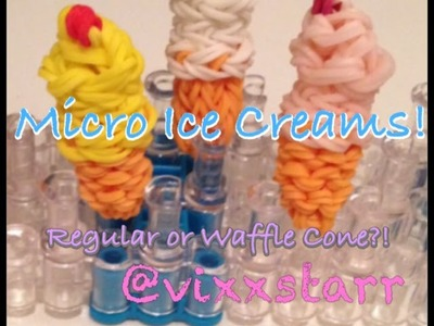 3D MICRO Ice Cream Charm (Regular or Waffle Cone) Rainbow Loom Tutorial