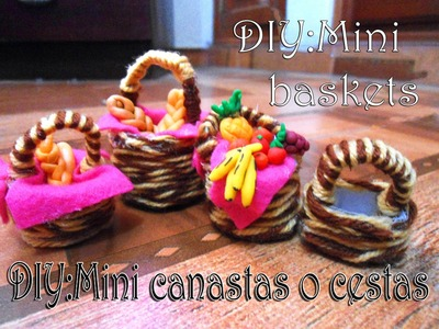 Como hacer Mini canastas para muñecas (Fácil). How to make Miniature baskets for Dolls & dollhouse