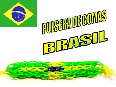 COMO HACER PULSERA DE GOMAS COLORES BANDERA BRASIL.HOW TO MAKE RUBBER BRACELET BRAZIL FLAG.