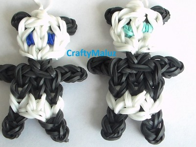 Como Hacer un Osito Panda de Gomitas. How to make the Rainbow Loom Panda Charm