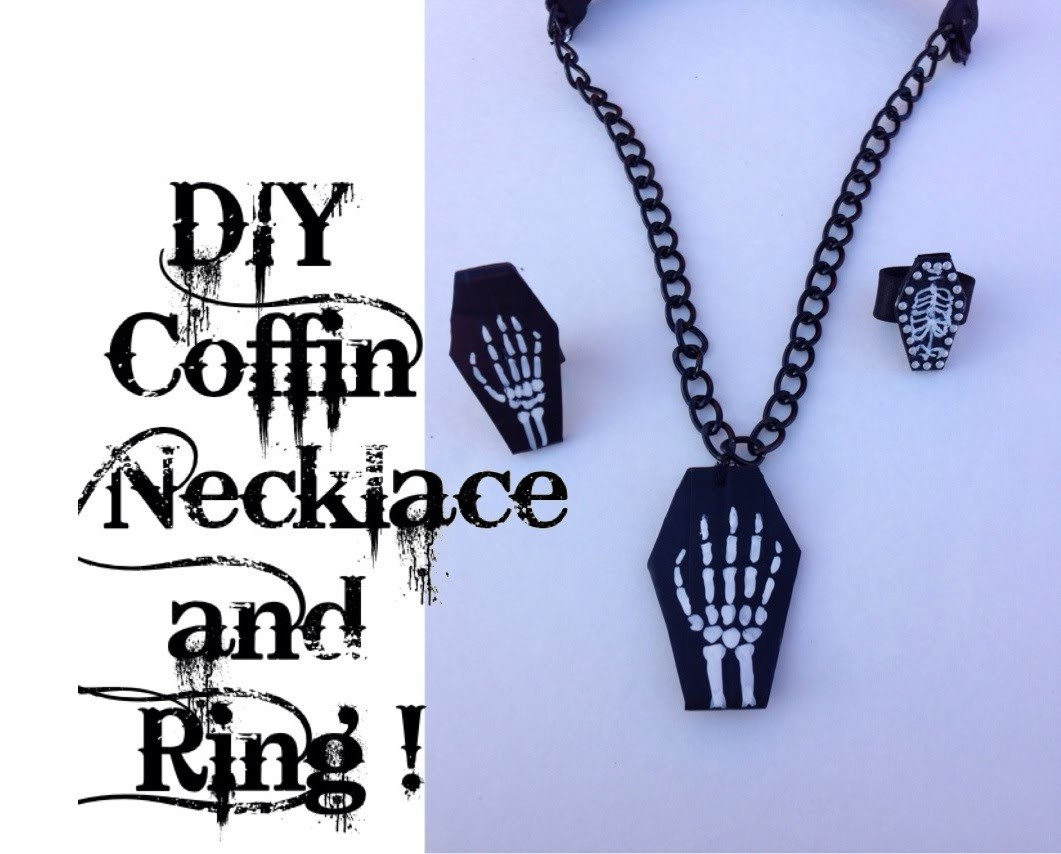 DIY COFFIN NECKLACE AND RING !!! (Collar y anillo de ataúd)