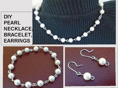 Diy PEARL BRACELET, NECKLACE, EARRINGS, Gift Idea, Easy, Inexpensive jewelry making