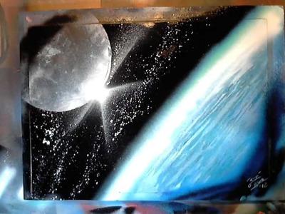Earth & Moon - Spray Paint Art by René Schell