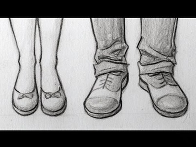 How to Draw Feet.Shoes: Front View, Male & Female