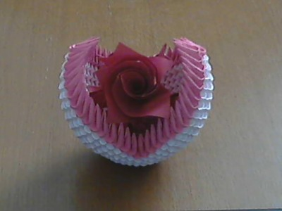 How to make 3d origami small basket with flower