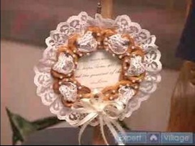 How to Make Pretzel Crafts : How to Make a Pearls & Lace Wedding Wreath With Pretzels