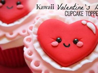 Kawaii Valentine's Day Cupcake Topper